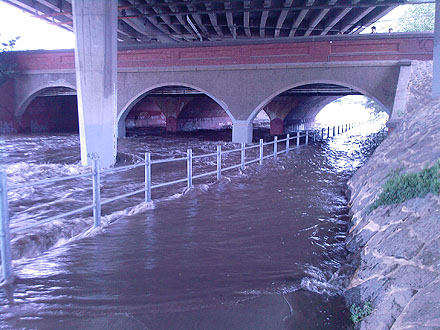 The underpass at Glenferrie Road, inundated with flood water.