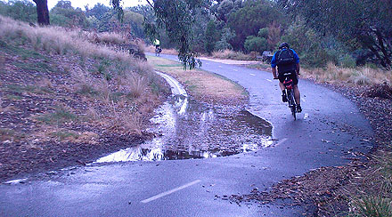 The path at Loys Paddock, half-covered by water.