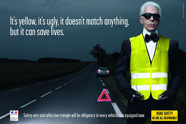 Lagerfeld: It's yellow, it's ugly, it doesn't match anything, but it can save lives.